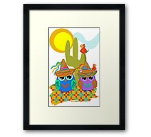 Cute Sombrero Owls, patterns and  Parrots Framed Print