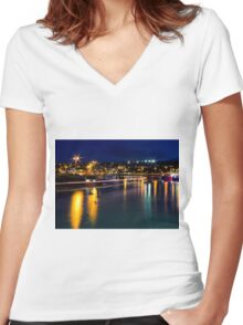 Lifeboat Lighttrails Women's Fitted V-Neck T-Shirt