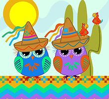Owls with Sombrero hats under the Mexican sun by walstraasart