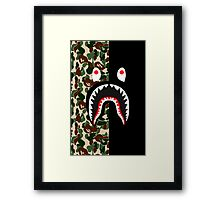 bape shark black army Framed Print