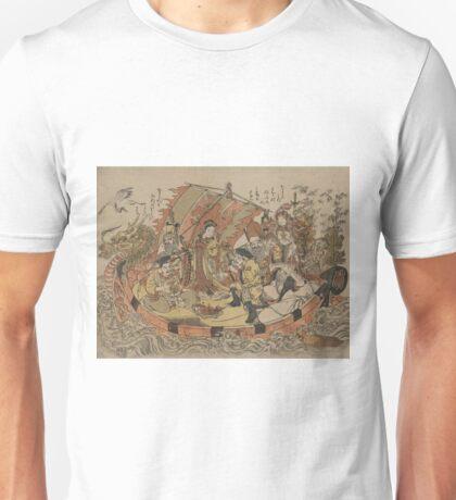 Seven gods of good fortune in the treasure boat - Shigemasa Kitao - 1772 Unisex T-Shirt