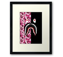 bape shark army red Framed Print