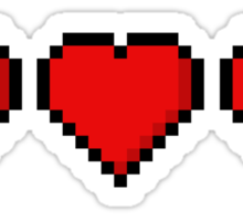 Two and a Half 8-Bit Hearts Sticker