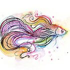 Betta Fish Watercolor by OlechkaDesign