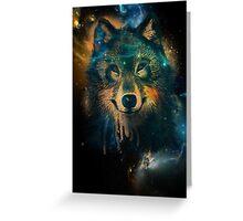 Galaxy Wolf Greeting Card
