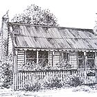 Hiscock's Cottage, Buninyong Victoria c1840.  by Elizabeth Moore Golding