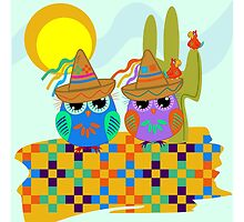 Cute Sombrero Owls, patterns and Parrots by walstraasart