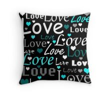 Cyan Valentines day pattern Throw Pillow