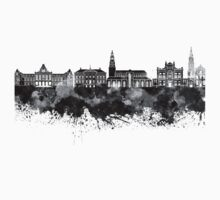 Groningen skyline in black watercolor One Piece - Short Sleeve