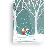 Little Miss Winter Fox in the Snow Metal Print