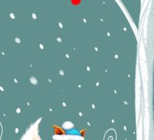 Little Miss Winter Fox in the Snow Sticker