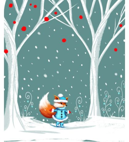 Little Miss Winter Fox in the Snow Sticker