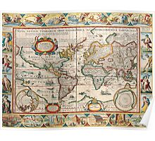 Antique Maps of the World The Americas 1628 Poster