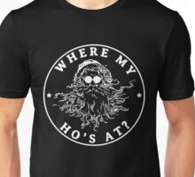 Funny Santa Claus Christmas Saying Where My Ho's At 2 Unisex T-Shirt
