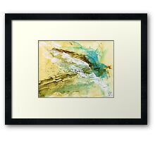 Yellow, blue and brown abstract Framed Print