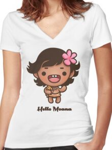 Hello Moana Women's Fitted V-Neck T-Shirt