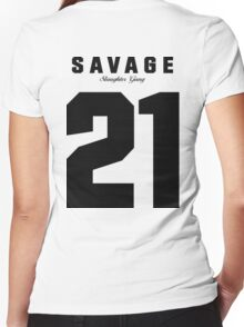 21 Savage Jersey (BLACK) Women's Fitted V-Neck T-Shirt