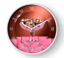 Tasty sponge cookies with chocolate Clock
