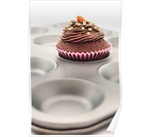 Single fairy cake on a baking tray. Poster