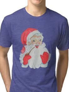 Nostalgic Santa with Pipe Tri-blend T-Shirt