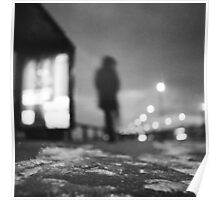 Man waiting at bus stop at night in winter square black and white analogue medium format film Hasselblad  photo Poster
