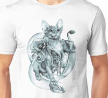 RISHAMA steampunk tattoo cat kitten biomechanics mechanics vintage Unisex T-Shirt