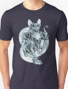 RISHAMA steampunk tattoo cat kitten biomechanics mechanics vintage T-Shirt
