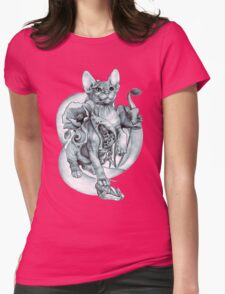 RISHAMA steampunk tattoo cat kitten biomechanics mechanics vintage Womens Fitted T-Shirt