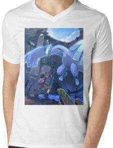 Lugia Pokemon Plata y Oro Mens V-Neck T-Shirt