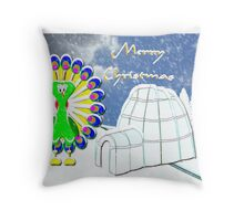 A Chilly Peacock Wishes You a Merry Christmas Throw Pillow