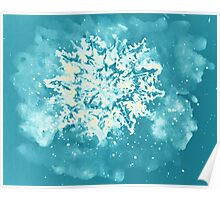 Colorful watercolor painting of snowflake. Illustration Poster