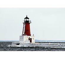 Menominee Lighthouse in March Photographic Print