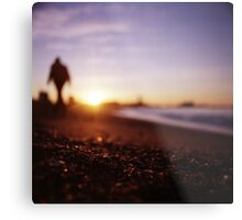 Man walking on beach at sunset square color analogue medium format film Hasselblad photograph Metal Print