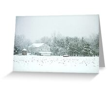 Barn in a Blizzard Greeting Card