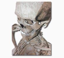 Skeleton Charcoal Illustration Drawing Artwork Kids Tee