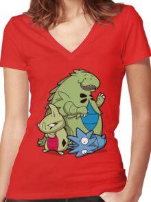 Terrific Tyrannic Dinosaurs Women's Fitted V-Neck T-Shirt