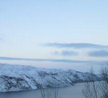 Snowy Norwegian River Sticker