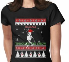 Merry Christmas - Basenji Through The Snow Womens Fitted T-Shirt