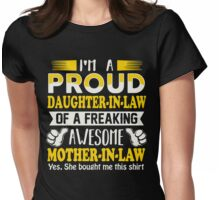 Gifts for proud Daughter In Law of awesome Mother In Law T-Shirt Womens Fitted T-Shirt
