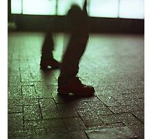 Surrealist photo of legs walking without bodies square color analogue medium format film Hasselblad photo Photographic Print