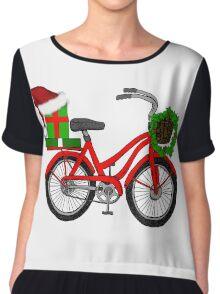 Christmas Bicycle Chiffon Top