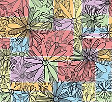 Patchwork Flowers and Stripes Pattern by SimplyKitt