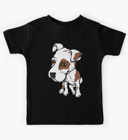 Big Head Bully Pup Brown Patches Kids Tee