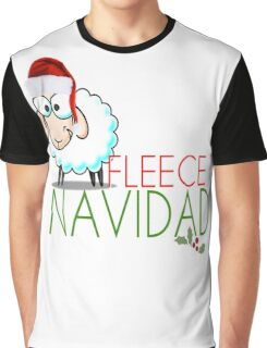 Funny Christmas Fleece Navidad Santa Hat Sheep Lamb Geek Cute Cartoon Spanish Latino Latina Holiday Ewe Xmas Graphic T-Shirt