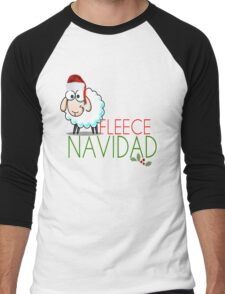 Funny Christmas Fleece Navidad Santa Hat Sheep Lamb Geek Cute Cartoon Spanish Latino Latina Holiday Ewe Xmas Men's Baseball ¾ T-Shirt