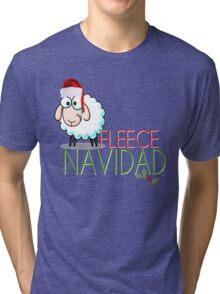 Funny Christmas Fleece Navidad Santa Hat Sheep Lamb Geek Cute Cartoon Spanish Latino Latina Holiday Ewe Xmas Tri-blend T-Shirt