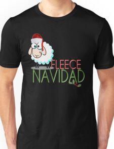 Funny Christmas Fleece Navidad Santa Hat Sheep Lamb Geek Cute Cartoon Spanish Latino Latina Holiday Ewe Xmas Unisex T-Shirt