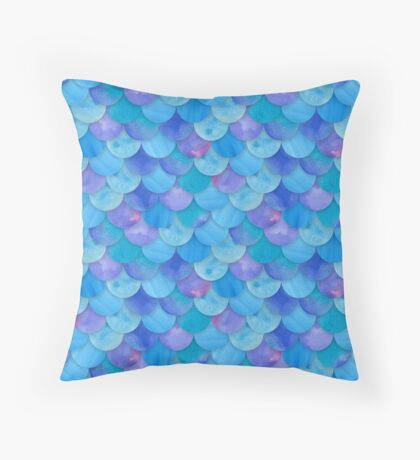 Blue Mermaid Seamless Pattern Throw Pillow