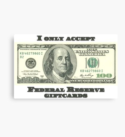 Federal Reserve Giftcards Canvas Print
