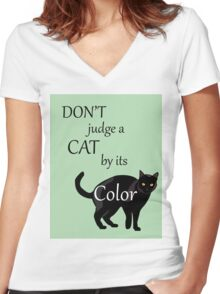 Cat Poster Women's Fitted V-Neck T-Shirt